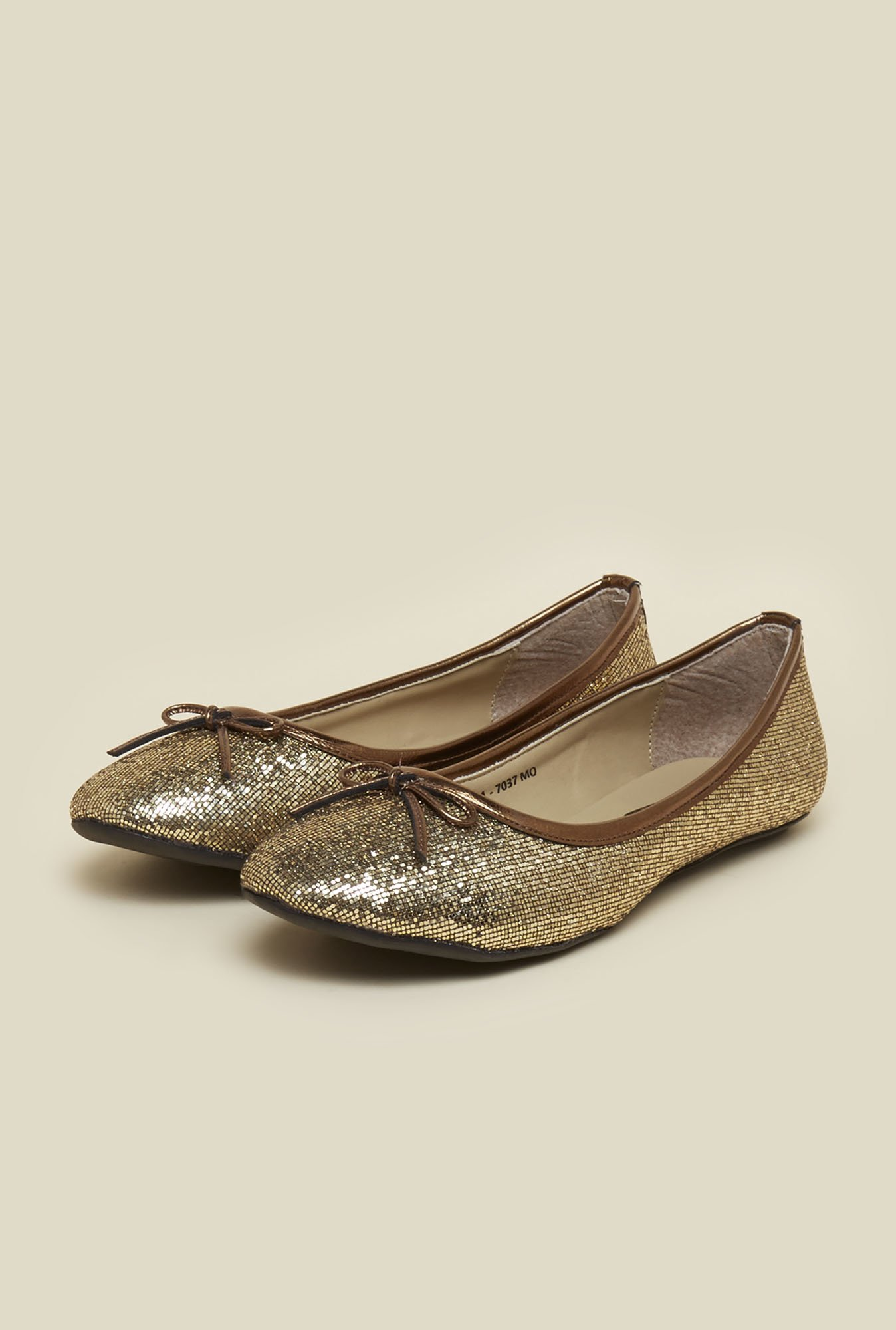 Mochi Antique Gold Ballet Flat Shoes