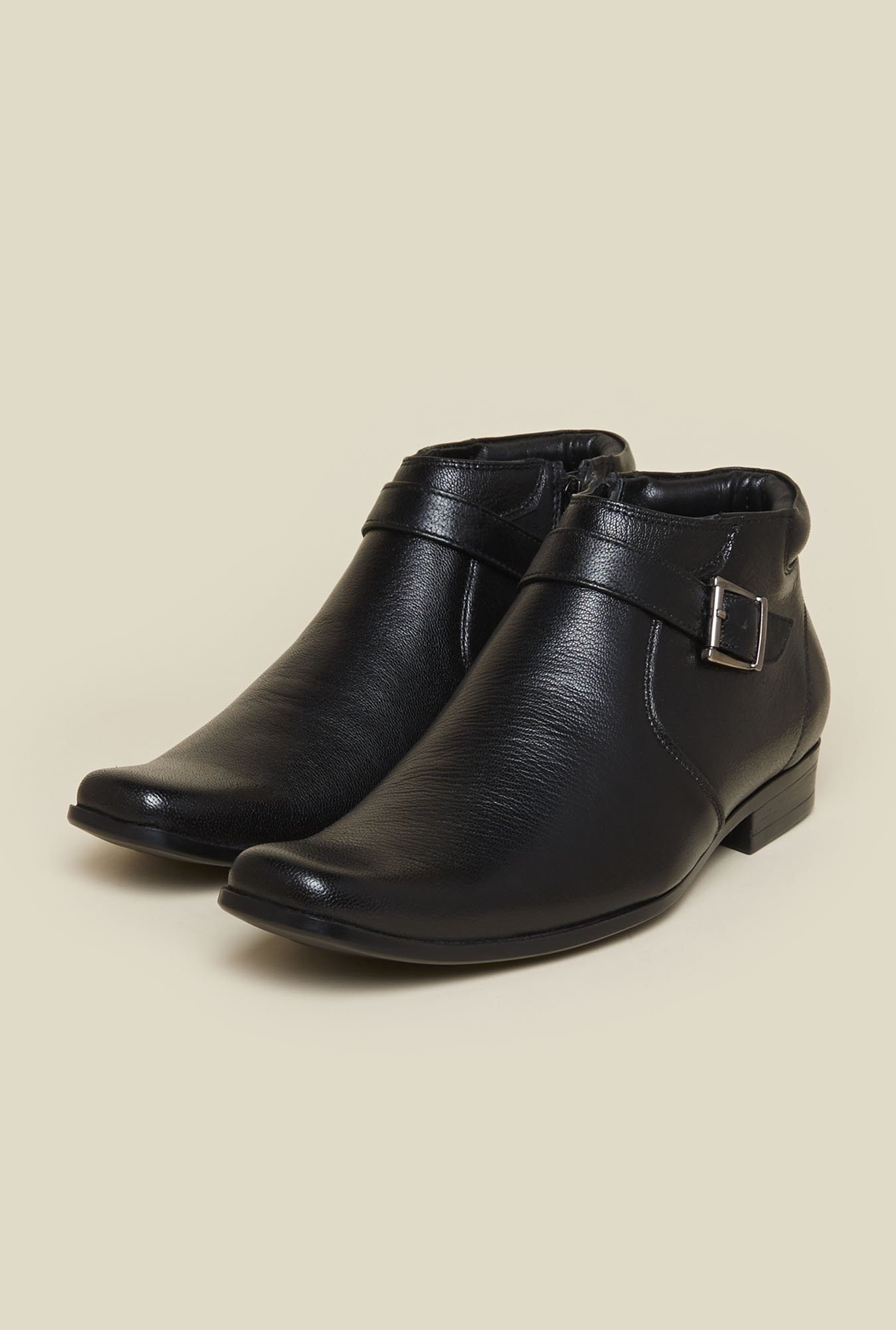 Mochi Black Leather Formal Boots