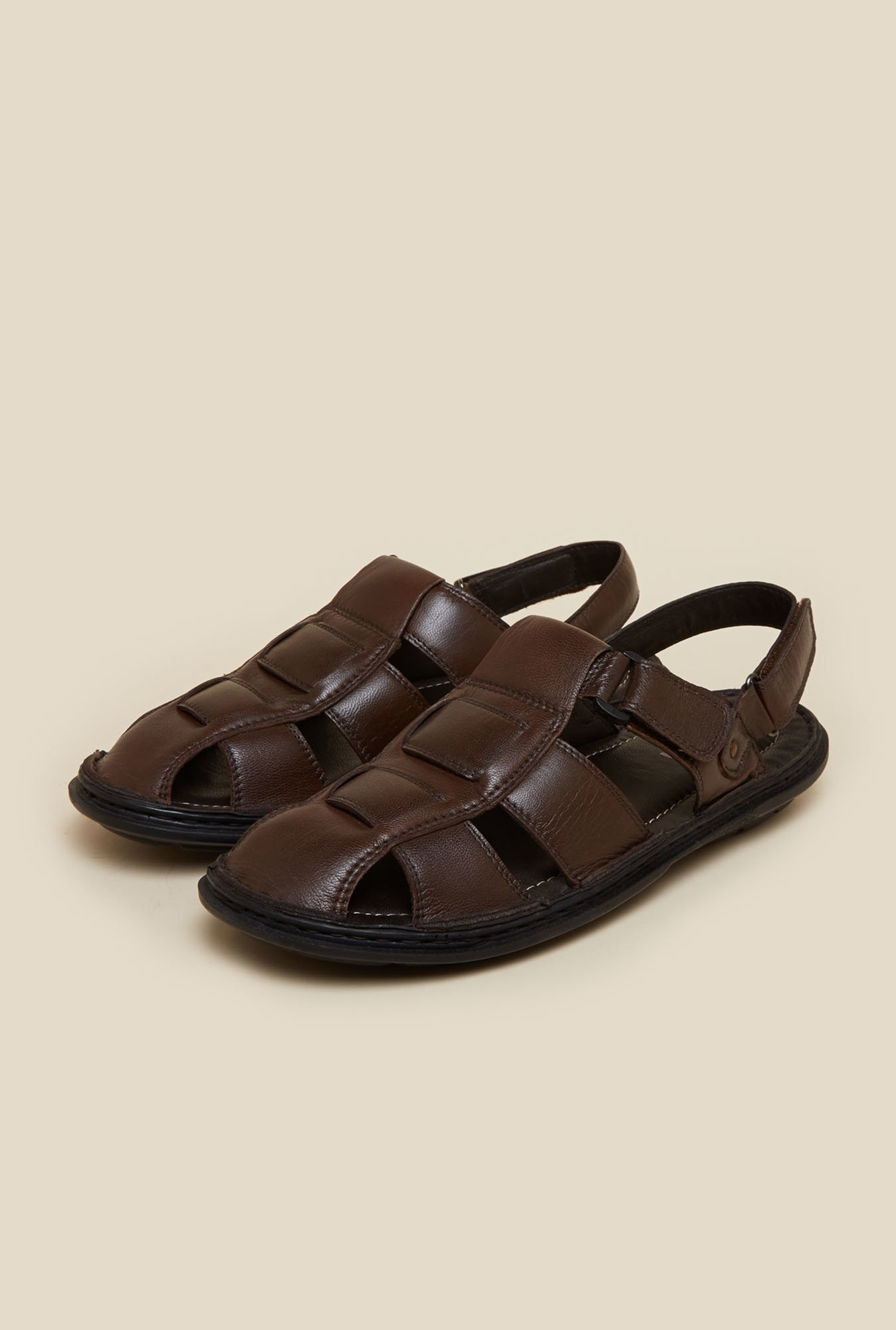 Mochi Brown Leather Fisherman Sandals