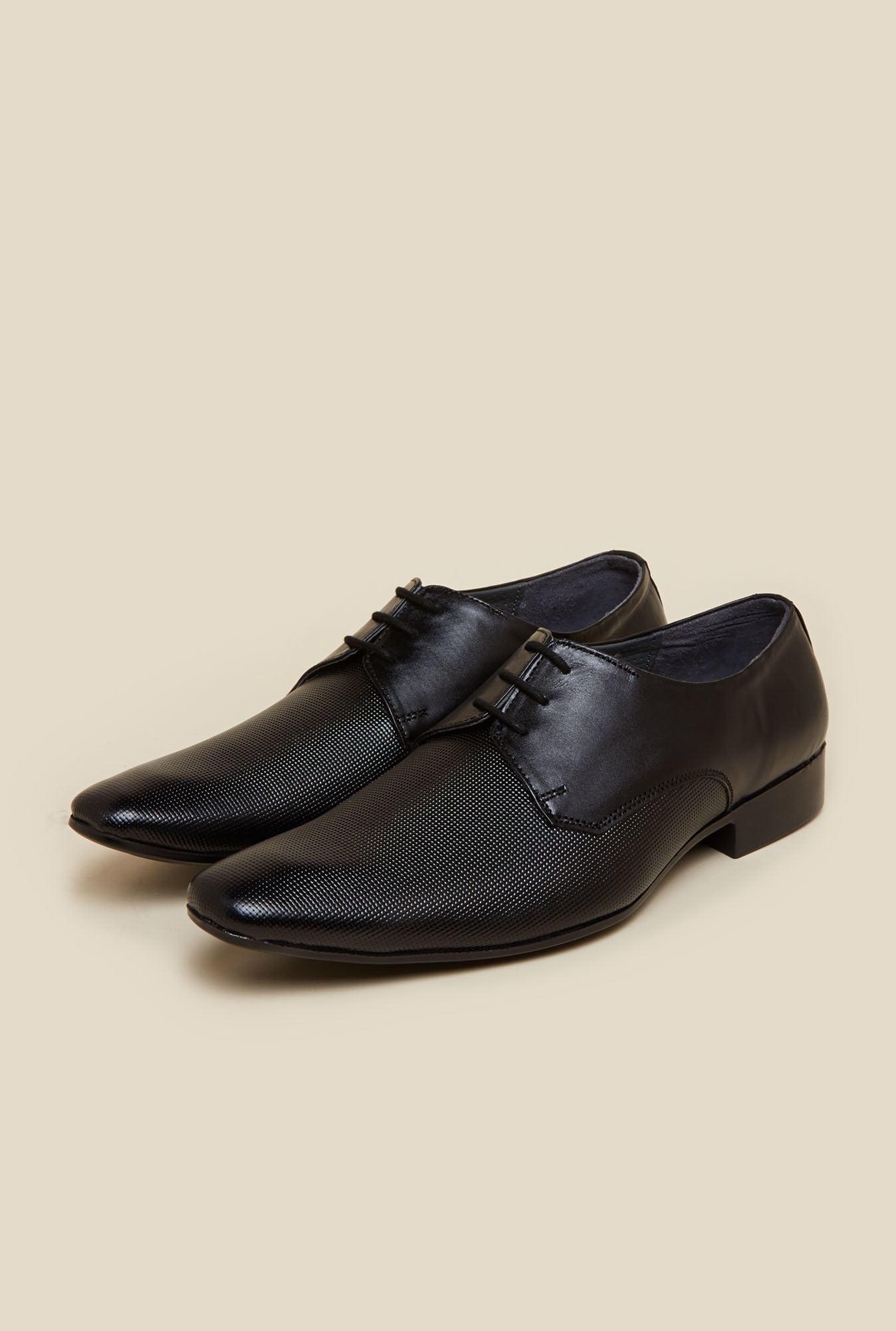 Mochi Black Leather Derby Lace-up Shoes