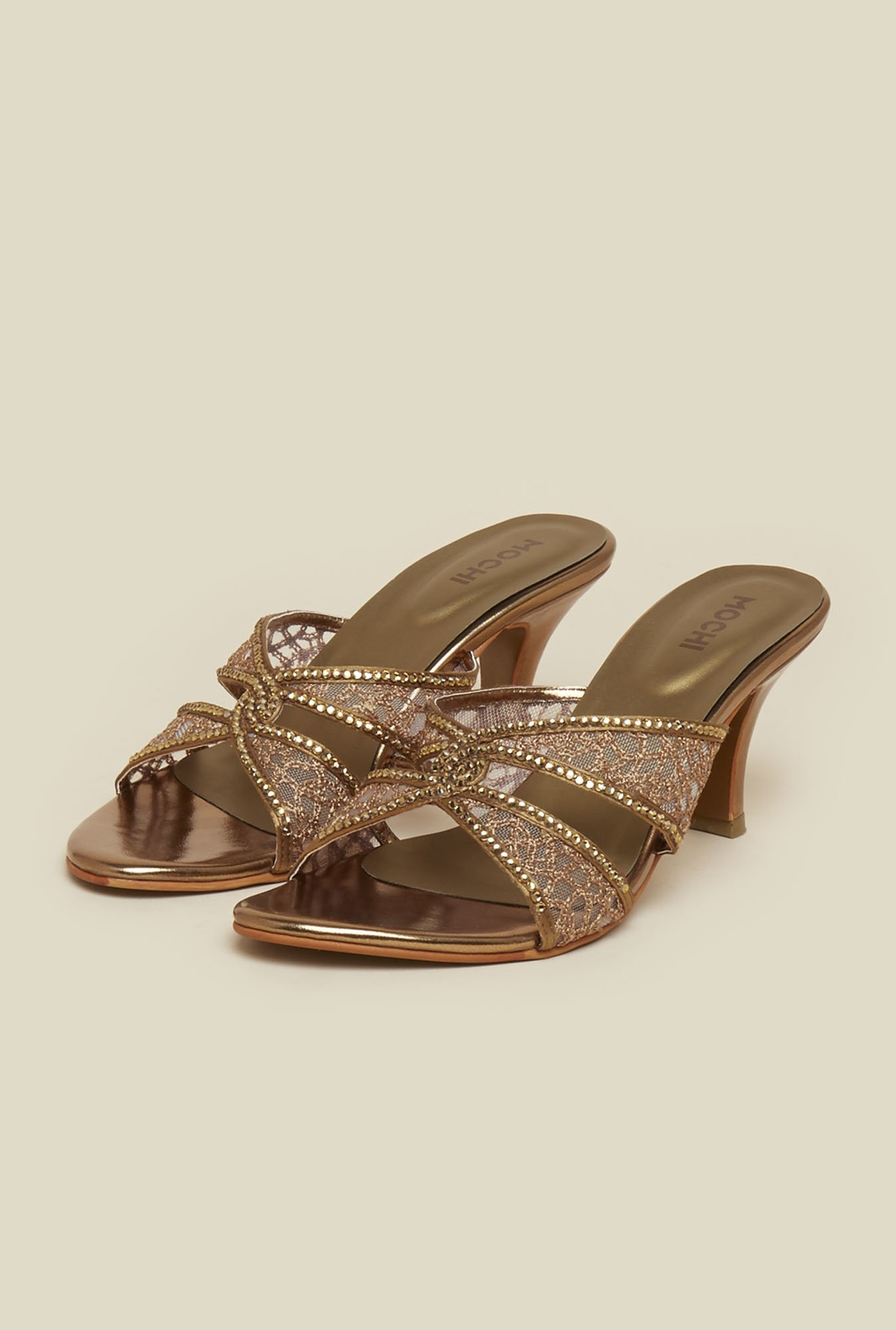 Mochi Antique Gold Ethnic Sandals