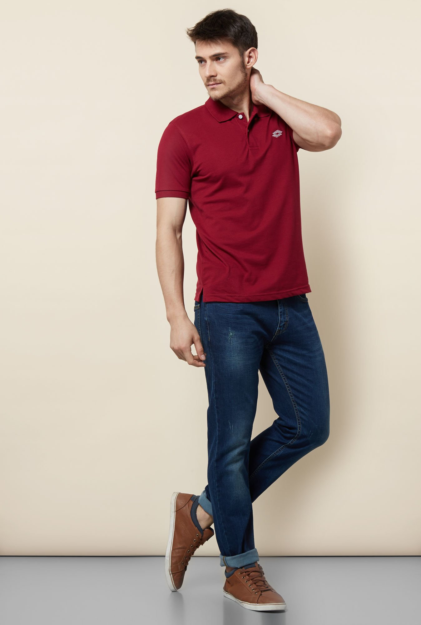 Lotto Maroon Solid Polo T Shirt