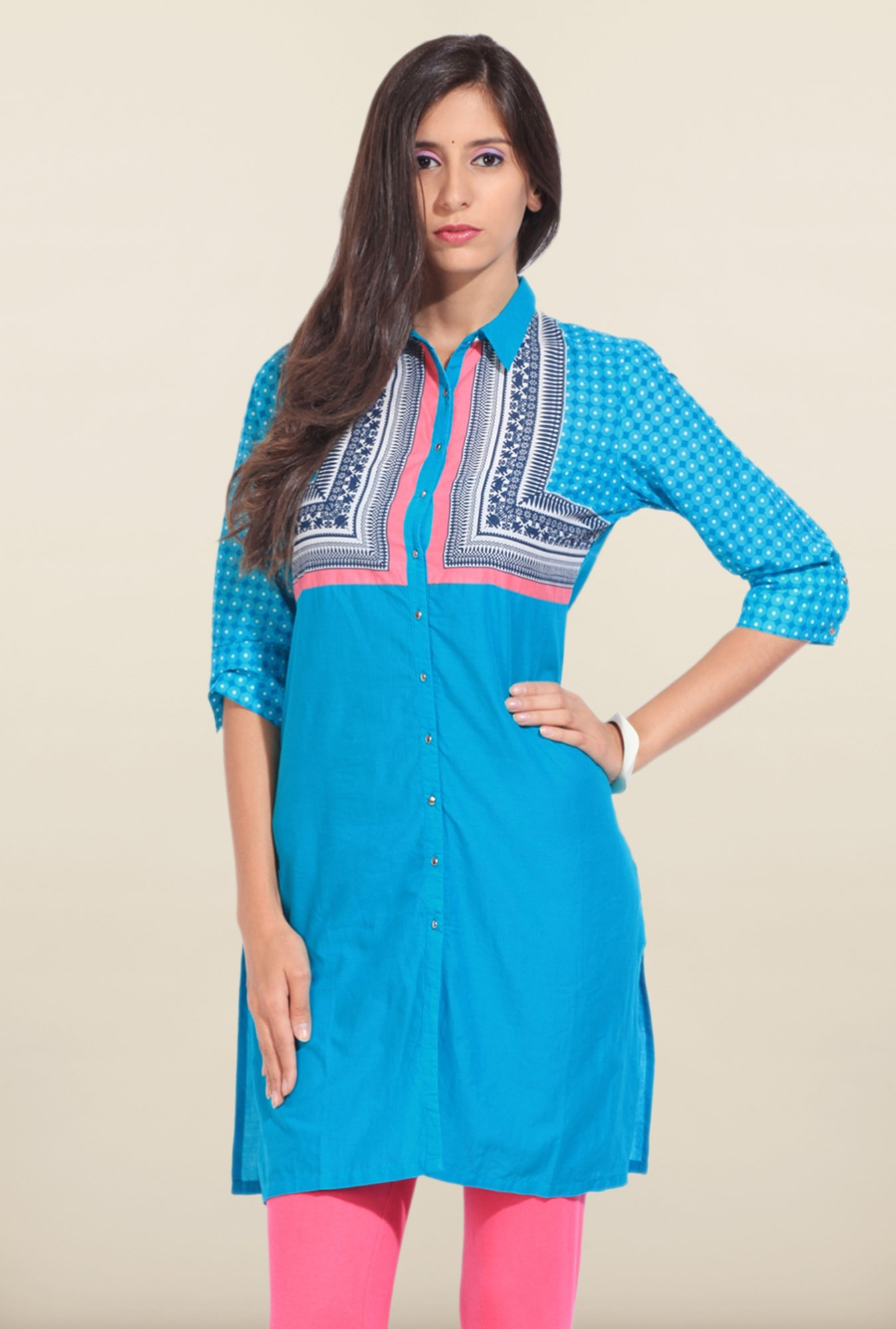 W Blue Printed Shirt Collar Kurta