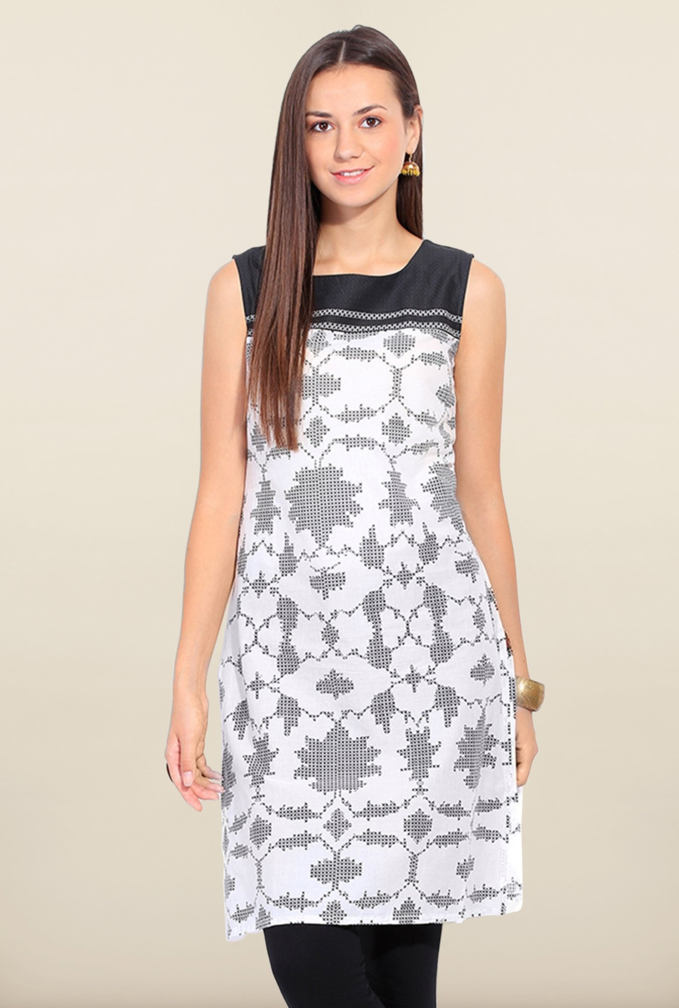 W White Printed Square Neck Kurta