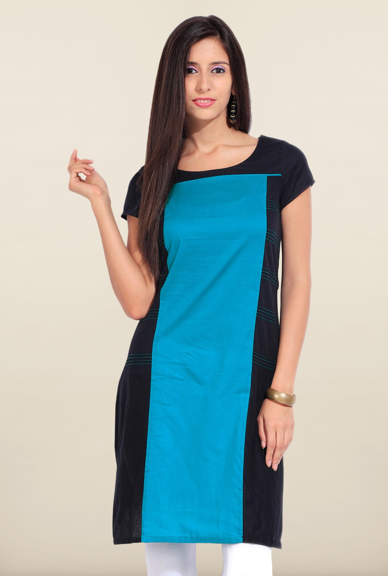 W Blue Solid Cotton Kurta