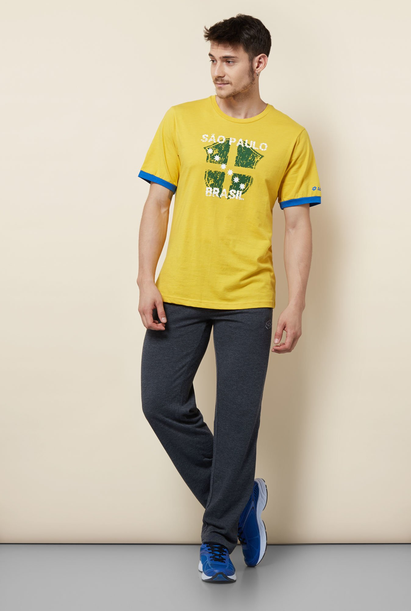 Lotto Yellow Printed Sports T Shirt
