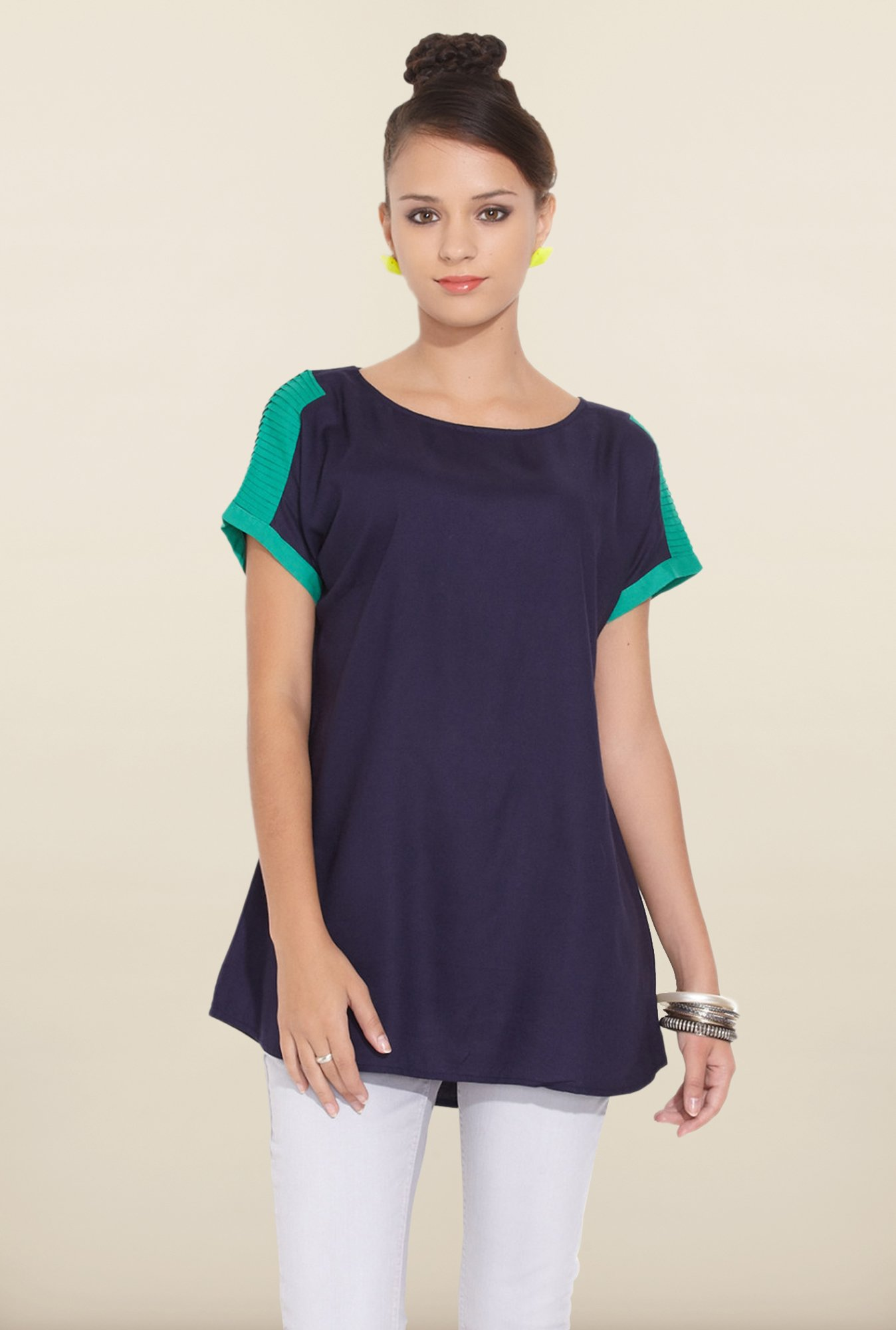 W Navy Solid Tunic