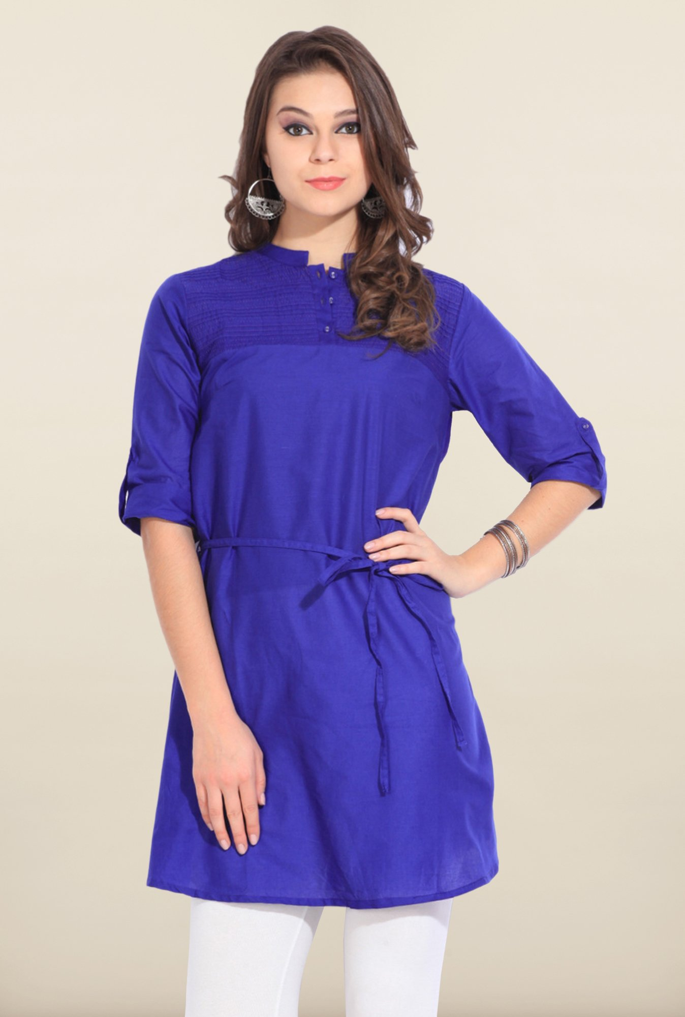 W Royal Blue Solid Cotton Kurti