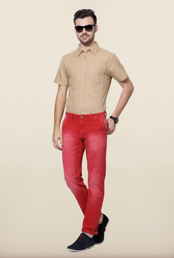 Allen Solly Red Solid Jeans