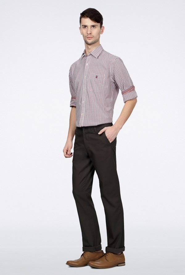 Allen Solly Brown Solid Casual Trouser