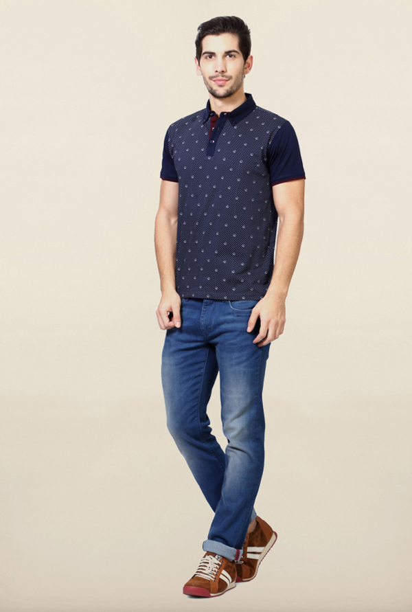 Van Heusen Navy Polo T Shirt