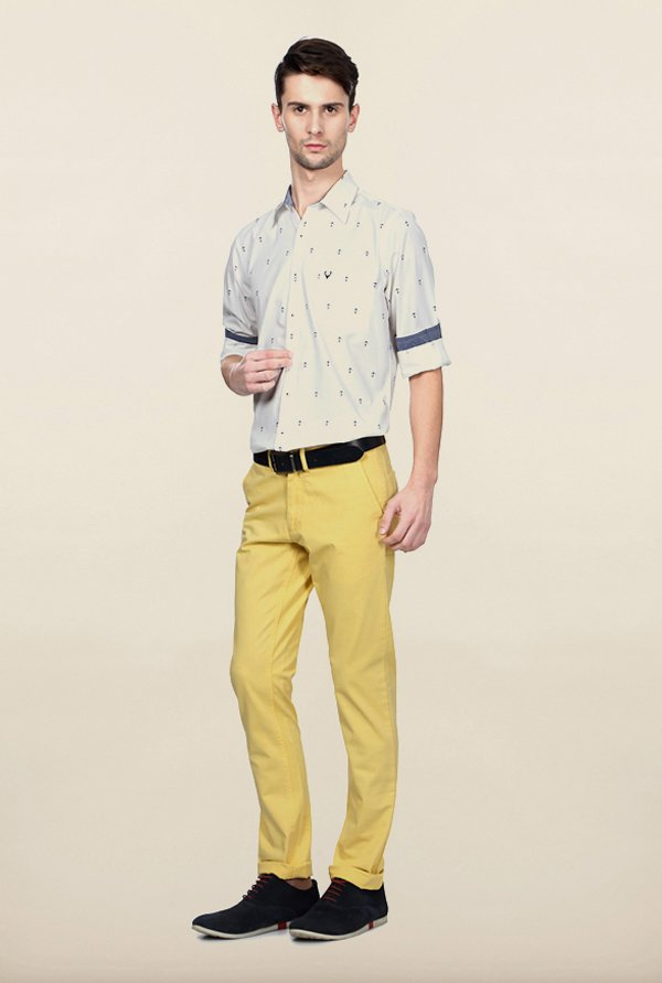 Allen Solly Yellow Solid Casual Trouser
