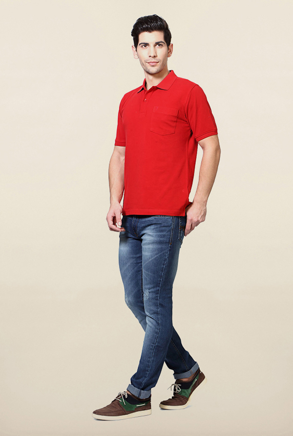 Van Heusen Red Solid T Shirt