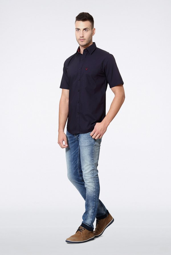 Allen Solly Navy Solid Casual Shirt