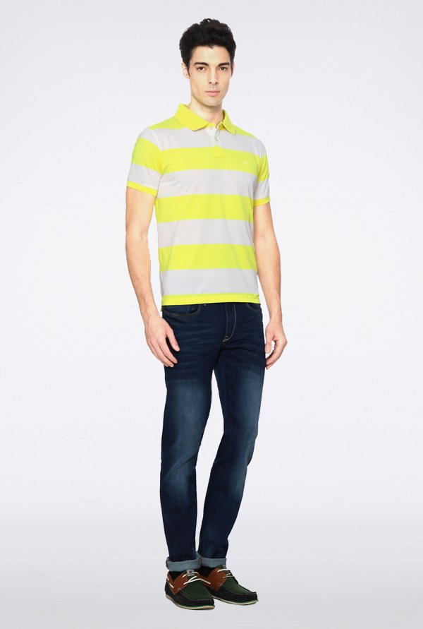 Peter England Yellow & Grey Polo T shirt