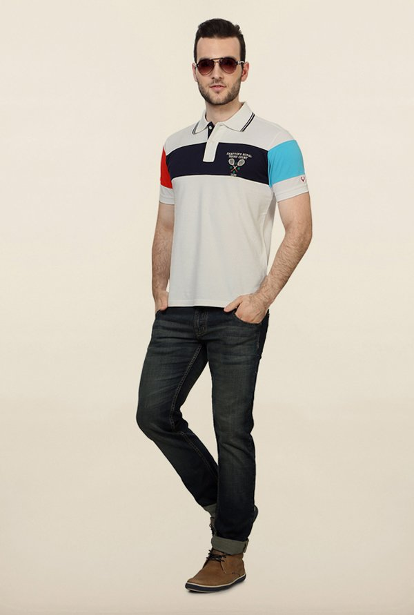 Allen Solly White Solid Polo T shirt