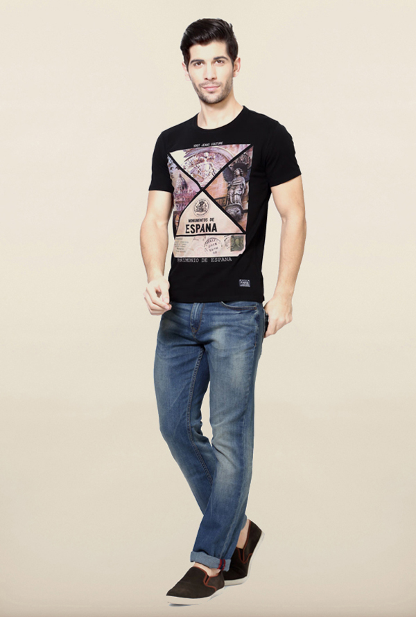 Van Heusen Black Cotton T Shirt