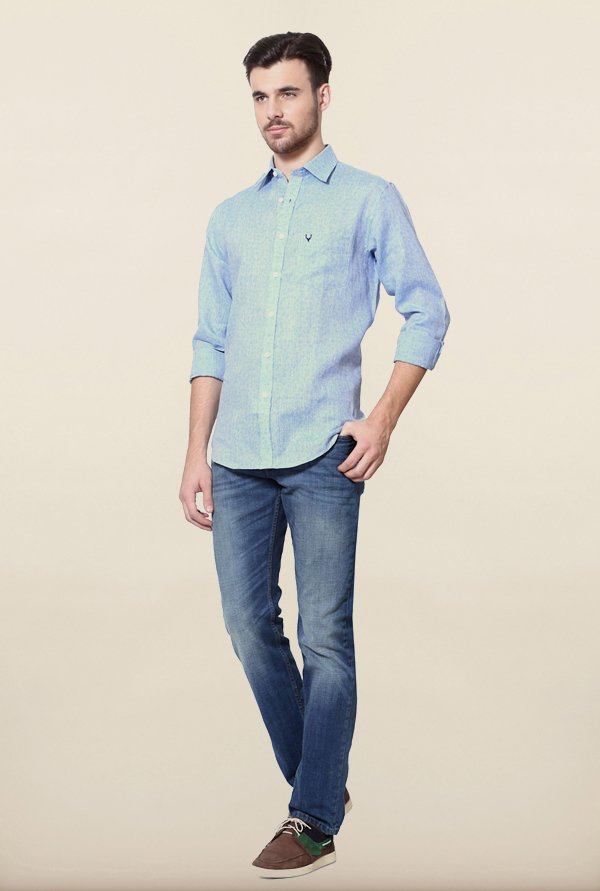 Allen Solly Blue Printed Casual Shirt