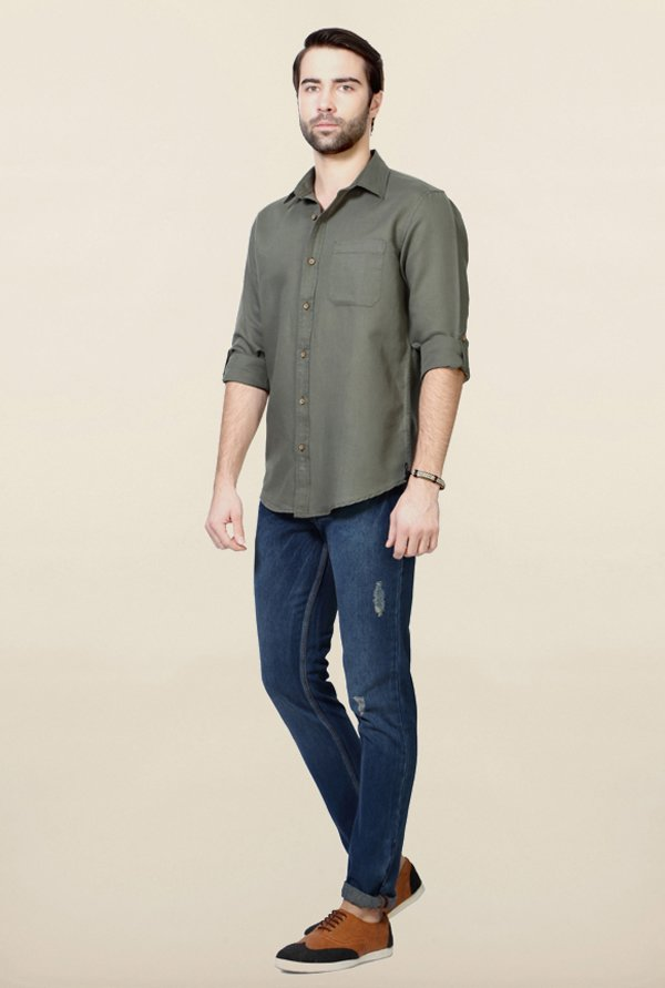 People Olive Solid Shirt