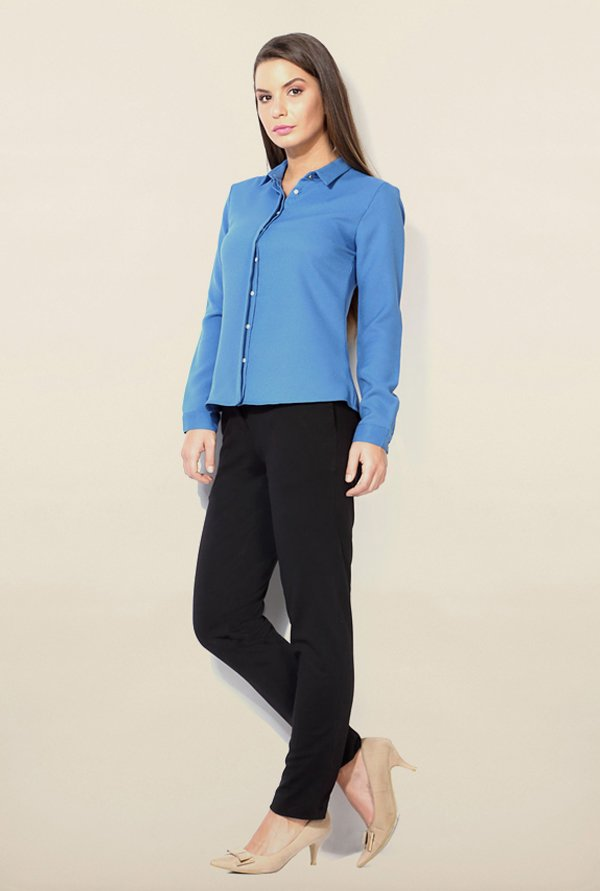 Van Heusen Blue Solid Shirt