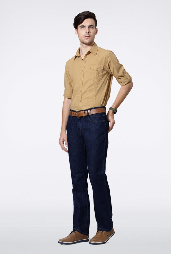 People Khaki Solid Casual Shirt