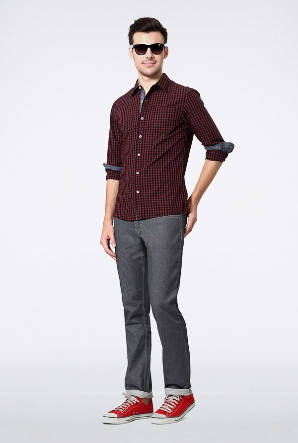 People Maroon Checks Casual Shirt