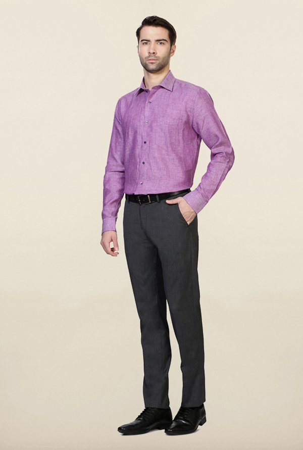 Van Heusen Purple Solid Linen Shirt