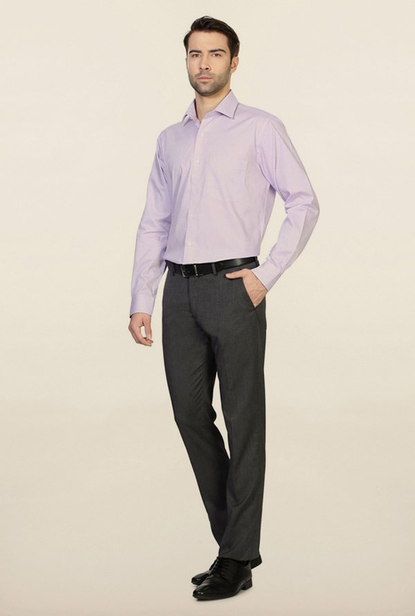 Van Heusen Lilac Checks Cotton Shirt