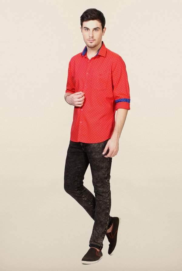 Van Heusen Red Printed Shirt