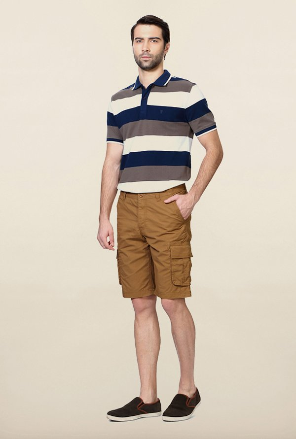 Van Heusen Brown Solid Shorts