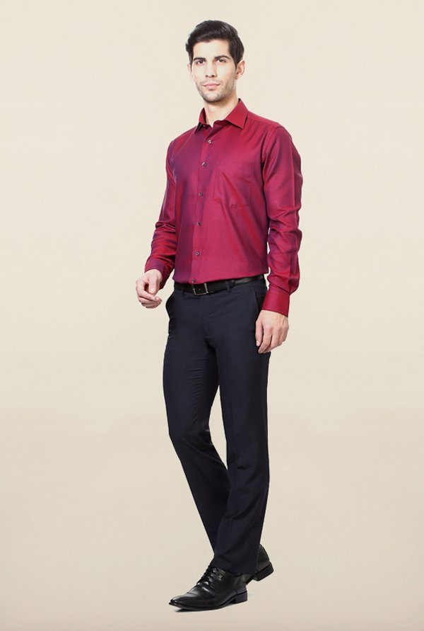Van Heusen Maroon Self Printed Shirt