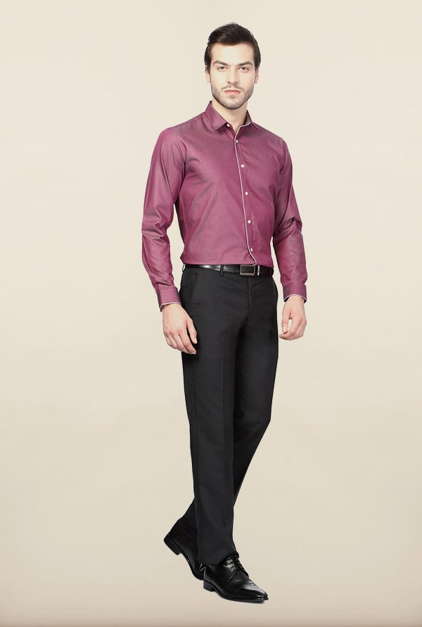 Van Heusen Purple Printed Casual Shirt