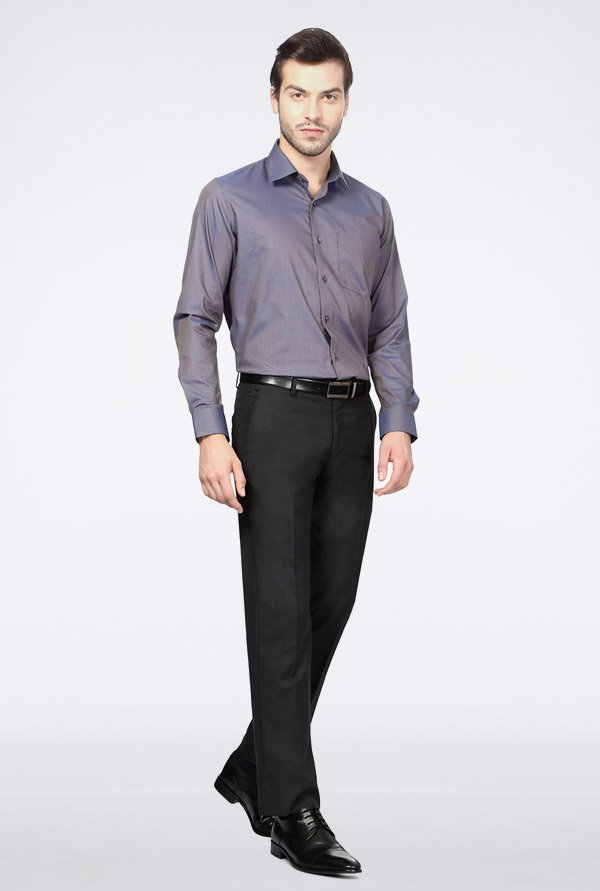 Van Heusen Purple Solid Casual Shirt