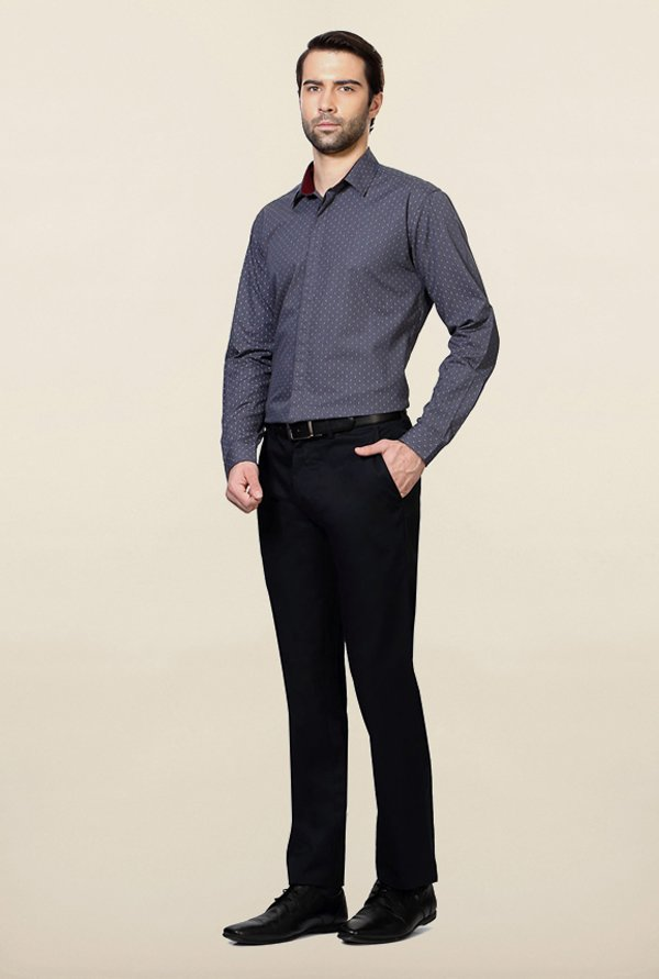 Van Heusen Dark Grey Printed Shirt