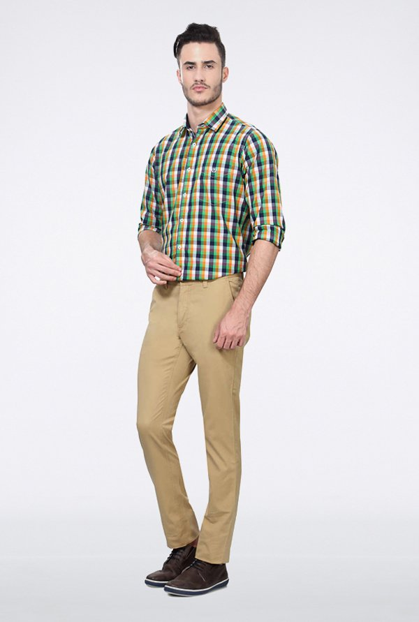 Allen Solly Khaki Solid Casual Trouser