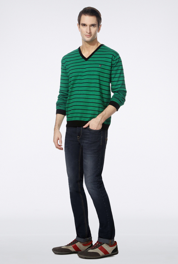 Peter England Green Striped Pullover