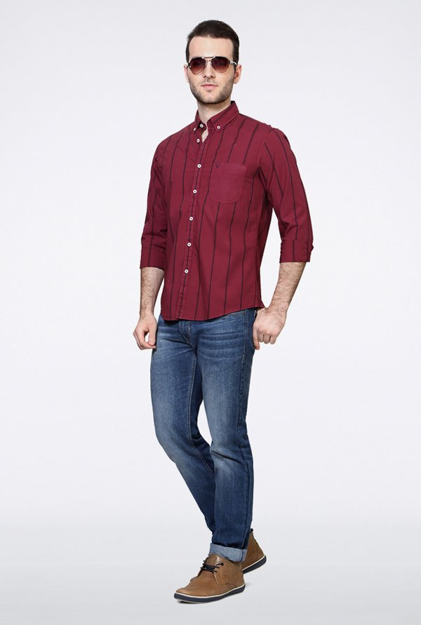 Allen Solly Maroon Striped Casual Shirt