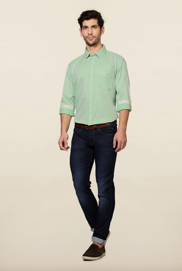 Van Heusen Green Solid Shirt
