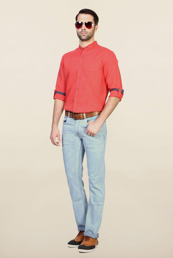 People Red Solid Shirt