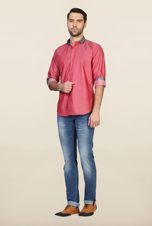 Van Heusen Pink Solid Cotton Shirt