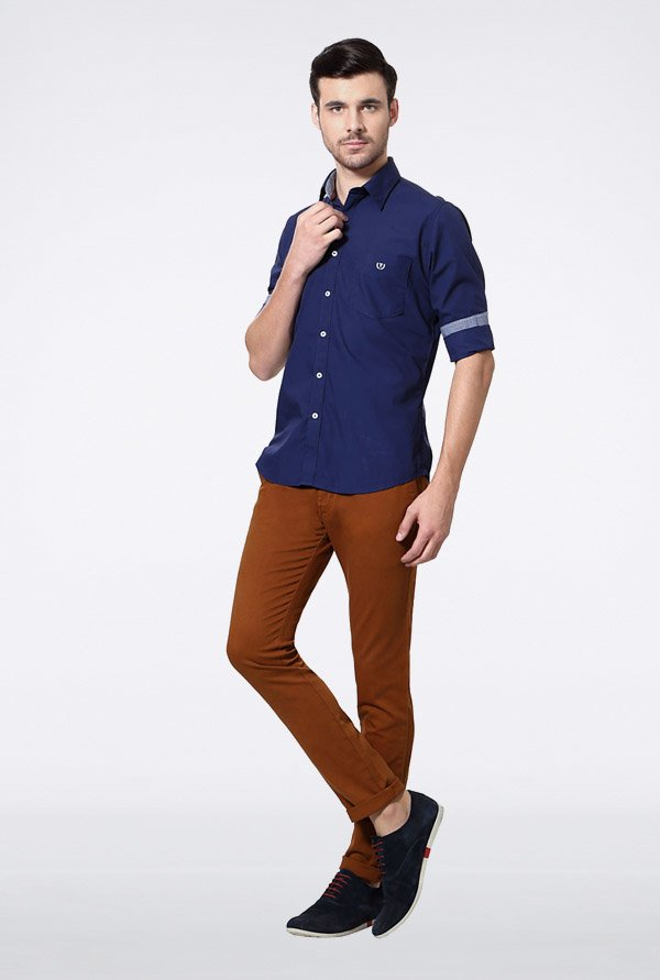 Van Heusen Navy Solid Casual Shirt