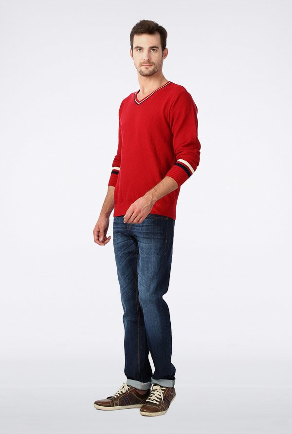 University Of Oxford Red Solid Sweater