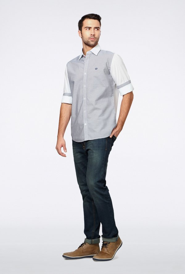 Van Heusen White Pin Striped Casual Shirt