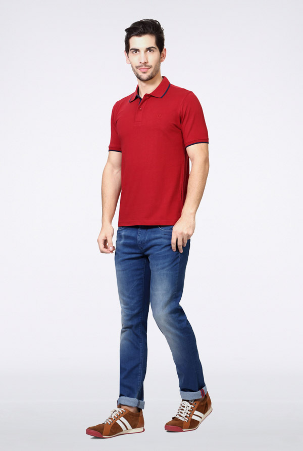 Van Heusen Red Solid Polo T Shirt