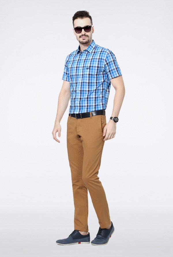 University Of Oxford Khaki Solid Chinos