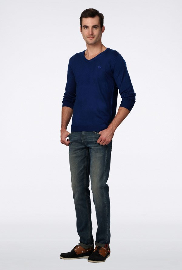 Van Heusen Blue Solid Sweater