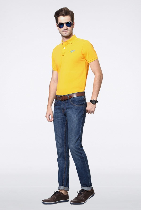 University Of Oxford Yellow Solid Polo T Shirt