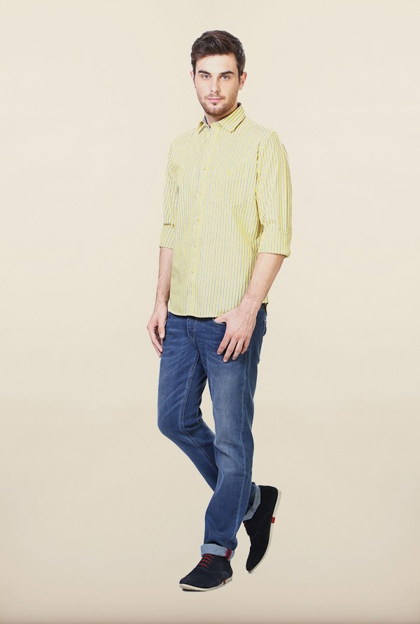 Van Heusen Yellow Striped Casual Shirt