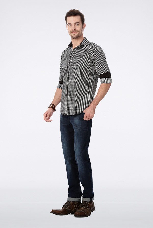 University Of Oxford Black Checks Casual Shirt