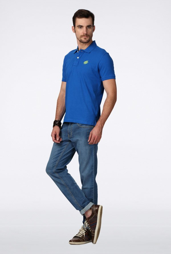 People Blue Solid Polo T Shirt